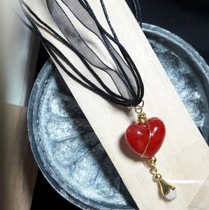 """Jewelry - Red Heart & Flower Dangle 19"""" Layered Necklace"""